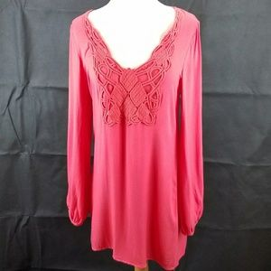 Toni Tunic Coral Dress with long slit sleeves